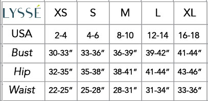 Lysse Size Chart