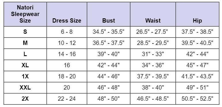 Natori Size Chart