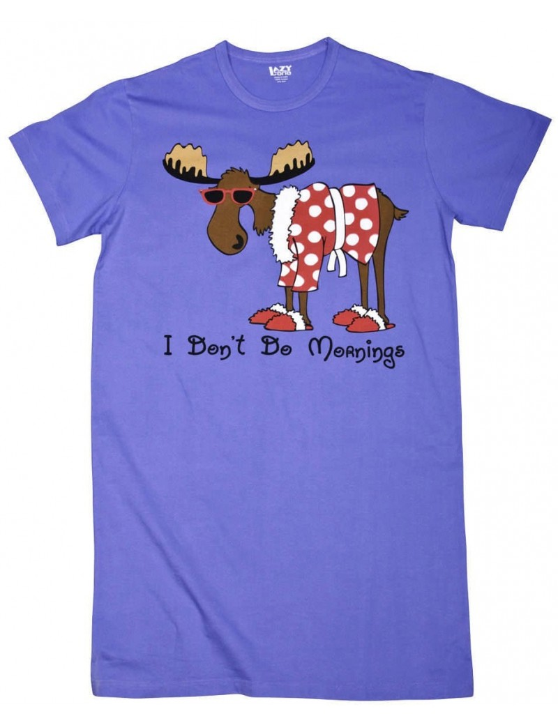 Womens Don't Do Mornings Moose Nightshirt 100% Cotton