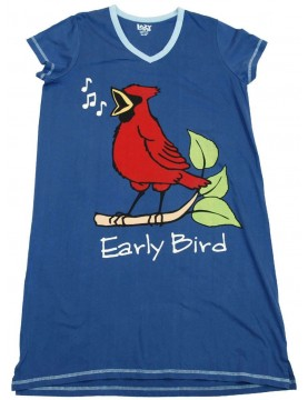 LazyOne - Blue Early Bird V-Neck Nightshirt 100% Cotton