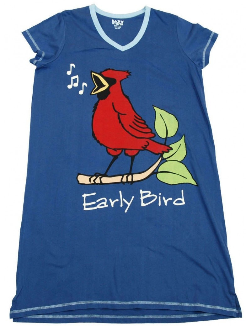 Womens Blue Early Bird V-Neck Nightshirt 100% Cotton