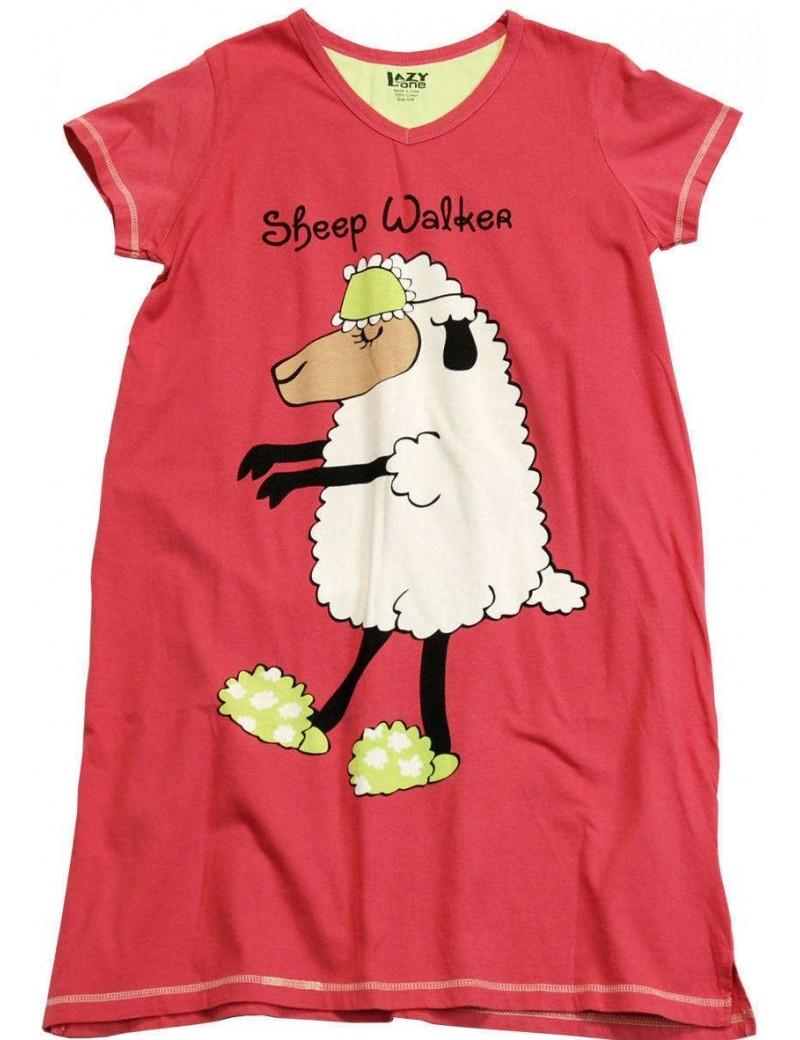 Womens Sheep Walker V-Neck Nightshirt 100% Cotton