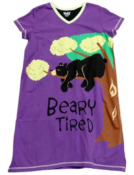 LazyOne - Bearly Tired V-Neck Nightshirt 100% Cotton