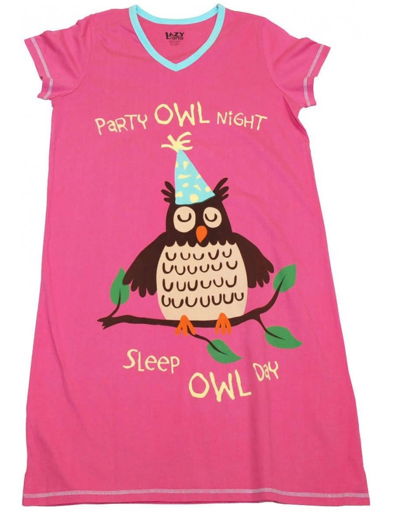 Womens Party Owl V-Neck Nightshirt 100% Cotton