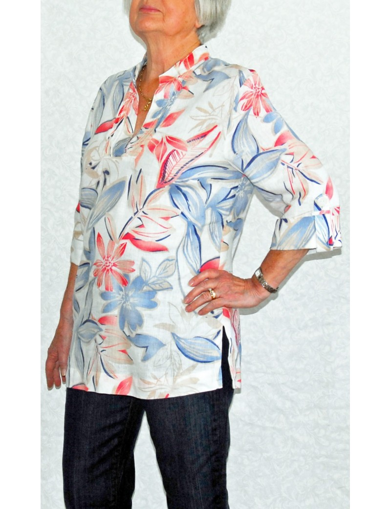 JM Collection - Linen 3/4 Sleeve Tunic Style Top
