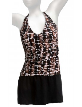 Miraclesuit - Geometric Tankini Skirted Swimsuit