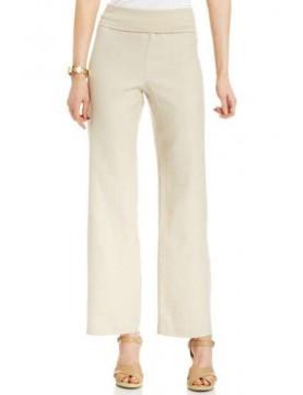Foldover-Waist Wide-Leg Linen Pants