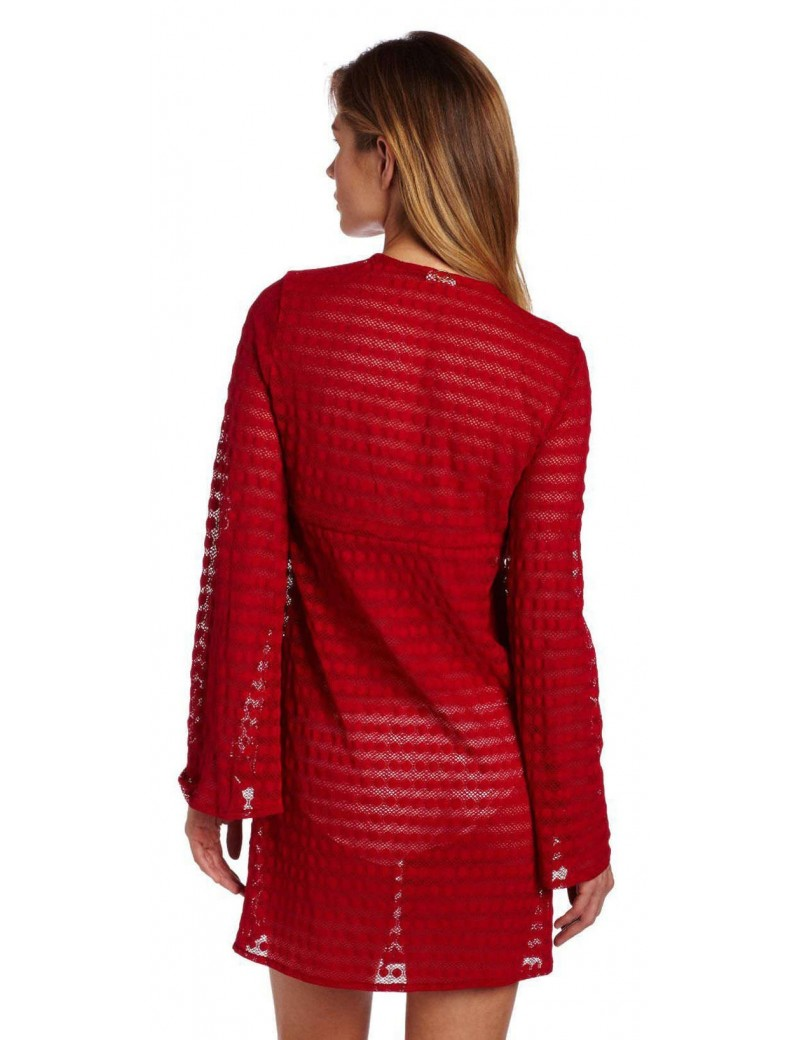 Jantzen Long Sleeve Lace Swimsuit Cover Up - Red