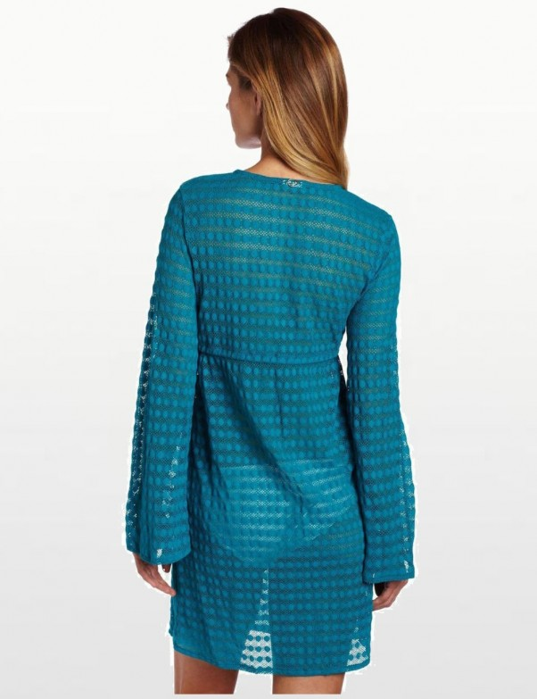 Jantzen Long Sleeve Lace Swimsuit Cover Up - Turquoise