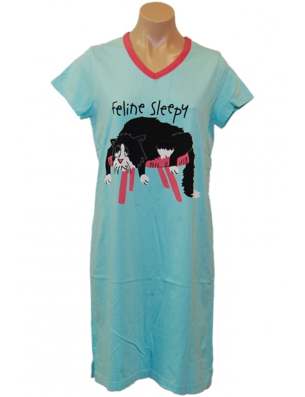 LazyOne - Aqua Feline Sleepy V-Neck Nightshirt