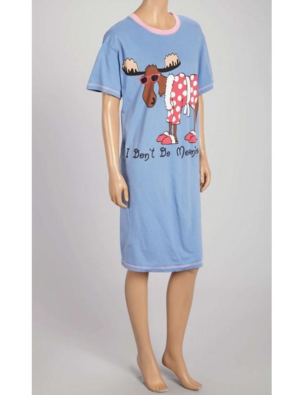 Womens Don't Do Mornings Moose Nightshirt 100% Cotton - Plus