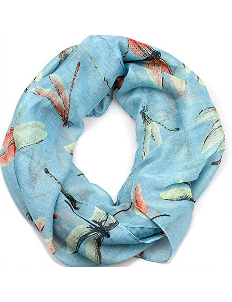 Infinity Scarf - Cute Dragon Fly Print - Blue