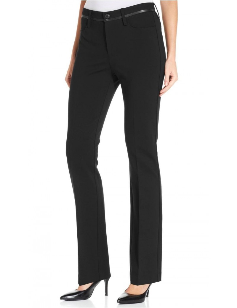 NYDJ - Ryan Faux Leather Trim Ponte Knit Bootcut Pants *S114F0758