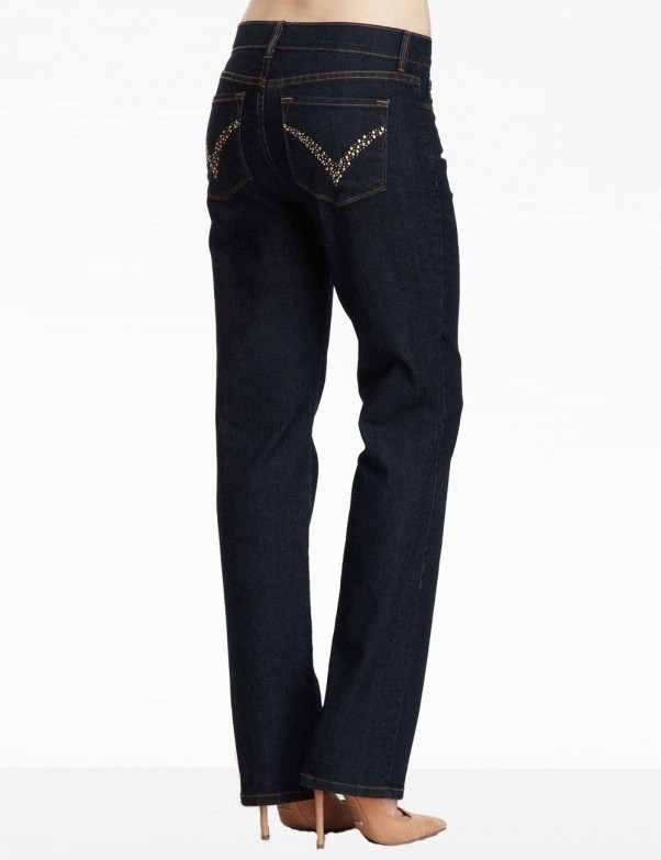 NYDJ - Marilyn Jeans in Dark Wash with Embellished Pockets *J84227TP5