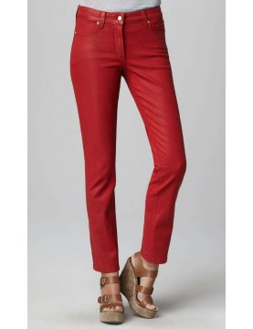 NYDJ - Sheri Slim Leg Coated Denim Jeans - Red Jasper *40265DTCC