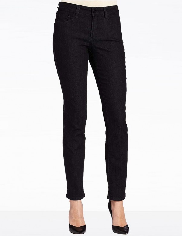 NYDJ - Sheri Slim Leg Jeans Black Enzyme Wash with Embellishments