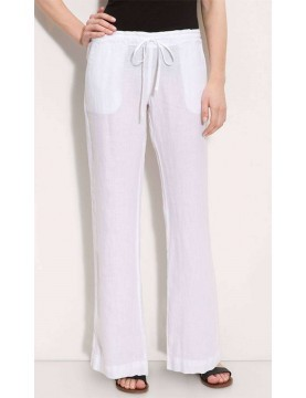 Linen Drawstring Wide Leg Trousers