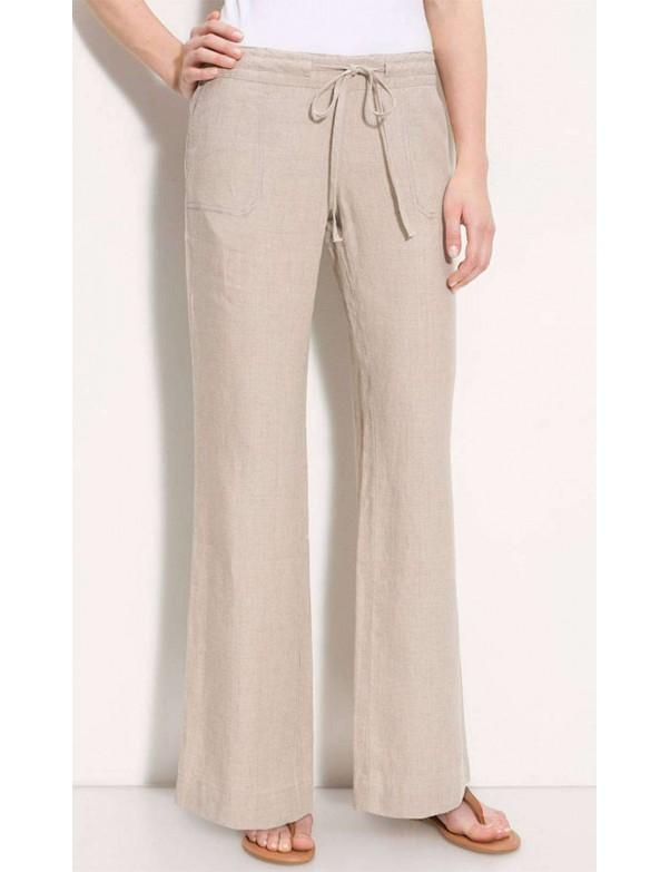 Allen Allen - Linen Drawstring Wide Leg Trousers