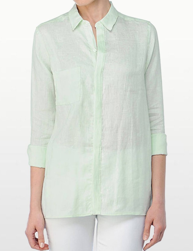 NYDJ - Long Sleeve Linen Shirt - Spearmint