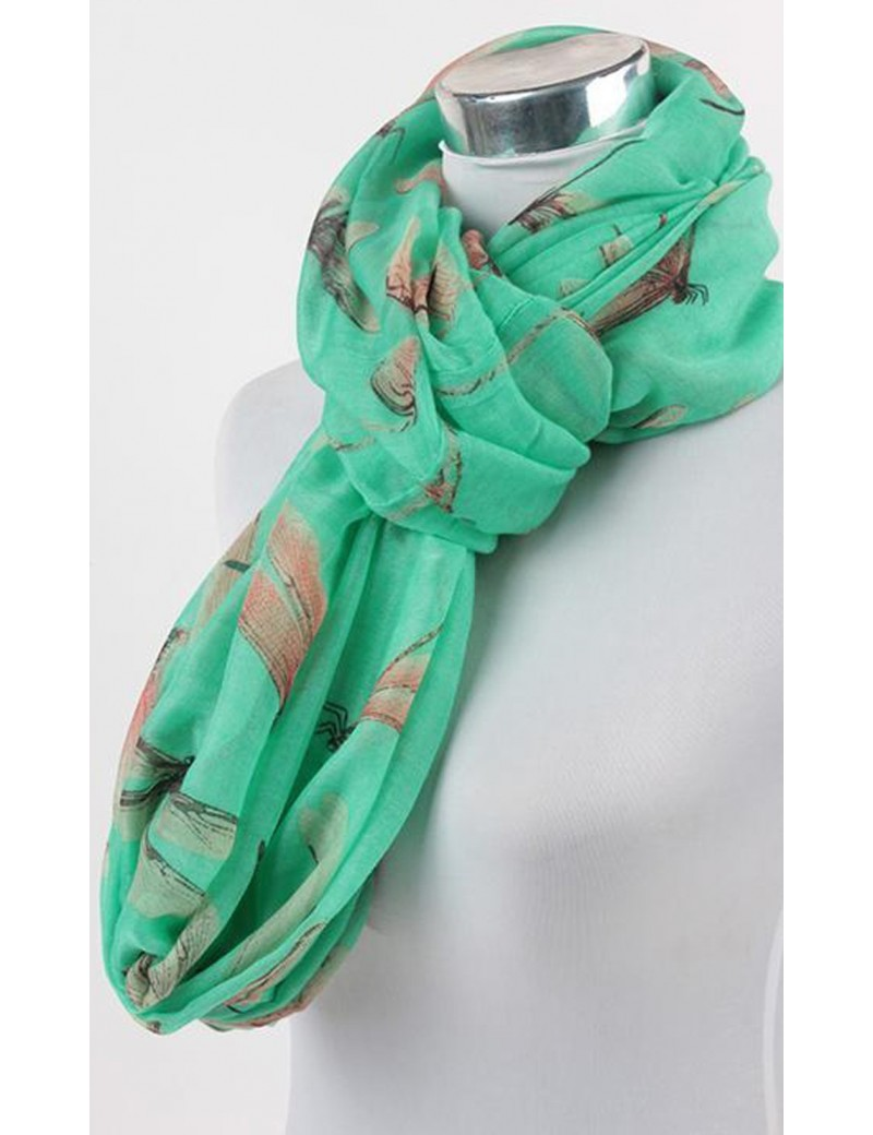 Infinity Scarf - Cute Dragon Fly Print - Green