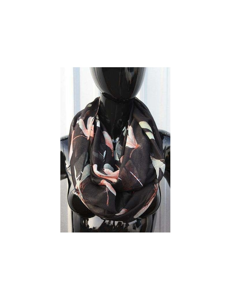 Infinity Scarf -  Cute Dragon Fly Print - Black