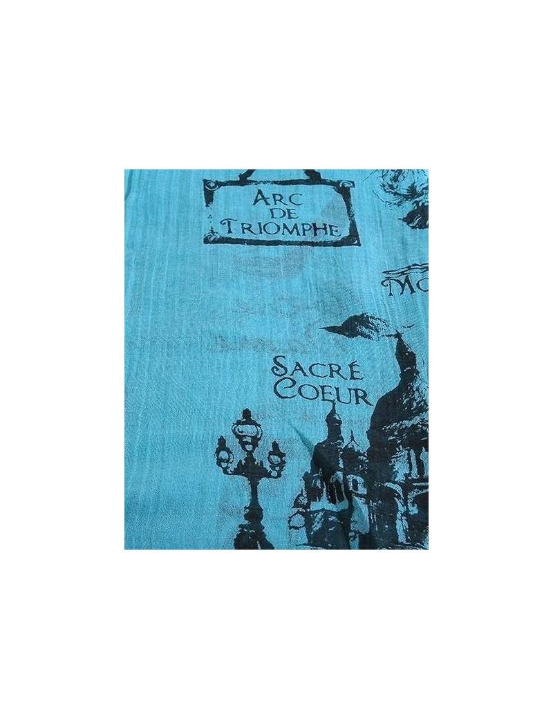Scarf - Paris Print - Aqua