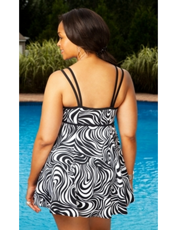 Longitude - Sand Dunes Black & White Swimdress