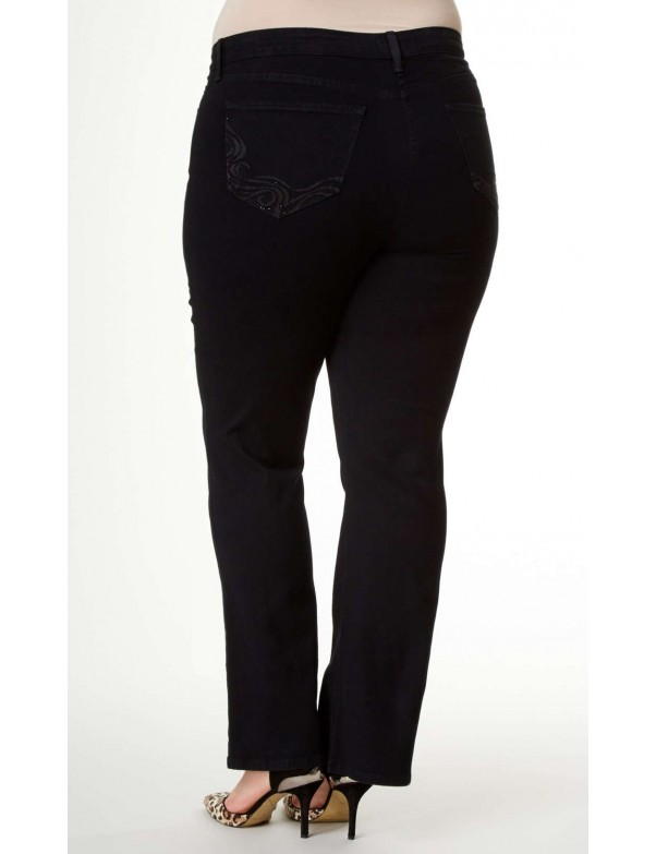 NYDJ - Barbara Bootcut Jeans in Black Embroidery ( Plus ) *W40232DT3482
