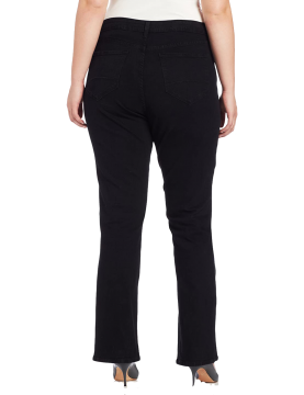 NYDJ -  Marilyn Straight Leg Jeans in Sueded Denim - Black