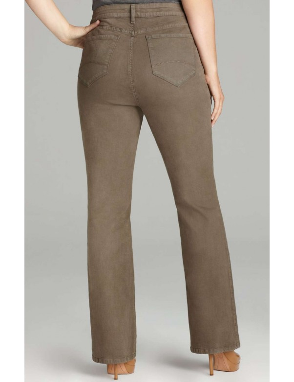 NYDJ - Plus Marilyn Straight Leg Jeans in Sueded Denim - Spanish Moss