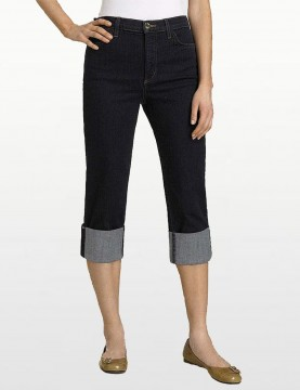 NYDJ - Blue Black Denim Roll Cuff Capri's *799
