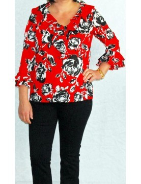 Jones New York - Red Ruffle Shirt