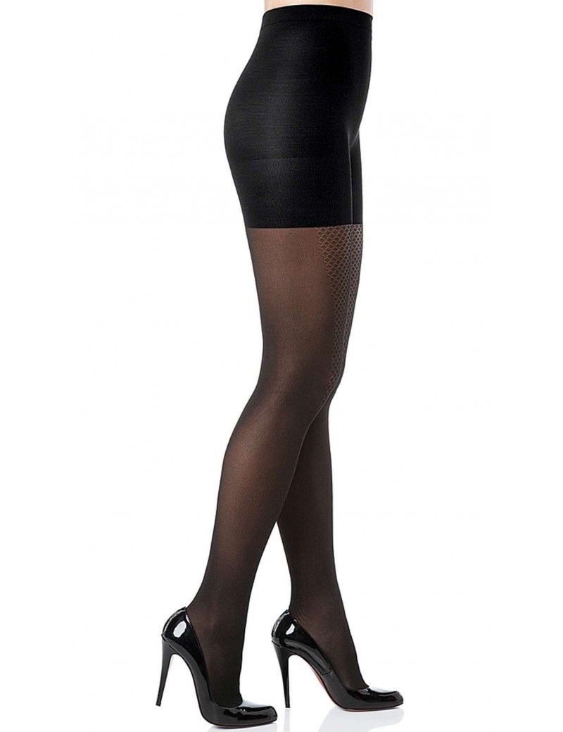 Spanx - Black Patterned Tight-End Tights - Illusion