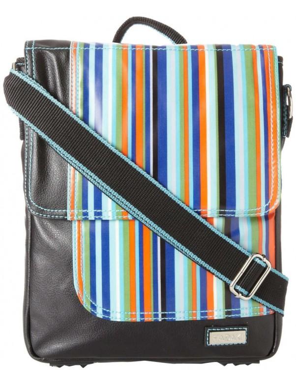 Hadaki - On The Run Messenger Bag in Mardi Gras Stripes Pattern