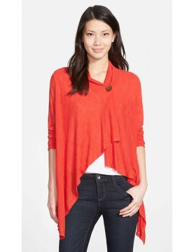 Bobeau One Button Asymmetrical Cardigan in Red Bloom