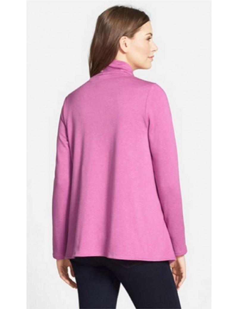 Bobeau - Asymmetrical Fleece Cardigan in Heather Purple Radience