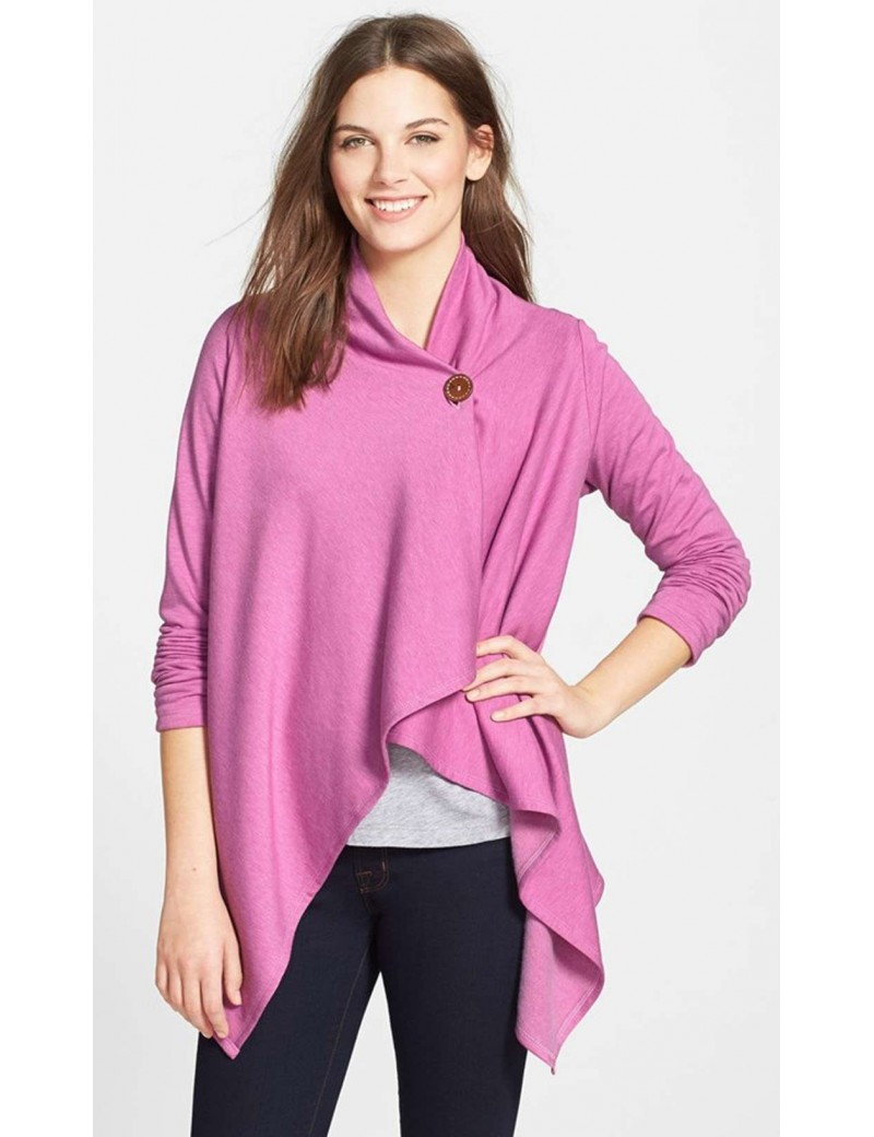 Bobeau - Asymmetrical Fleece Cardigan in Heather Purple Radience
