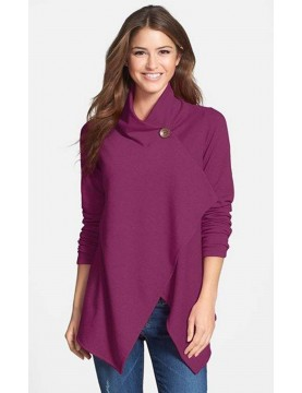 Bobeau - Asymmetrical Fleece Cardigan in Heather Purple Boysenberry