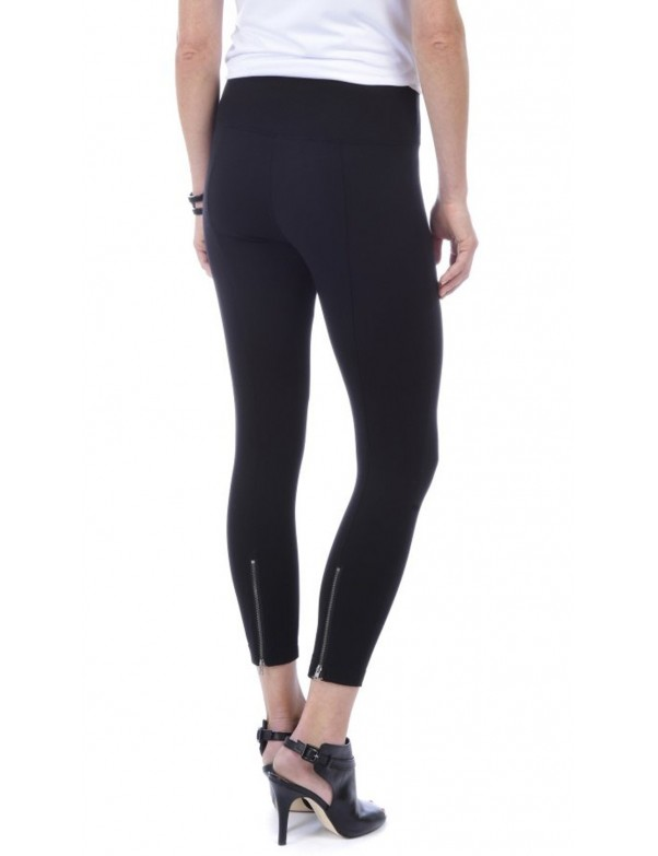Lysse -  Black Lightweight Ponte Knit Ankle Zip Leggings