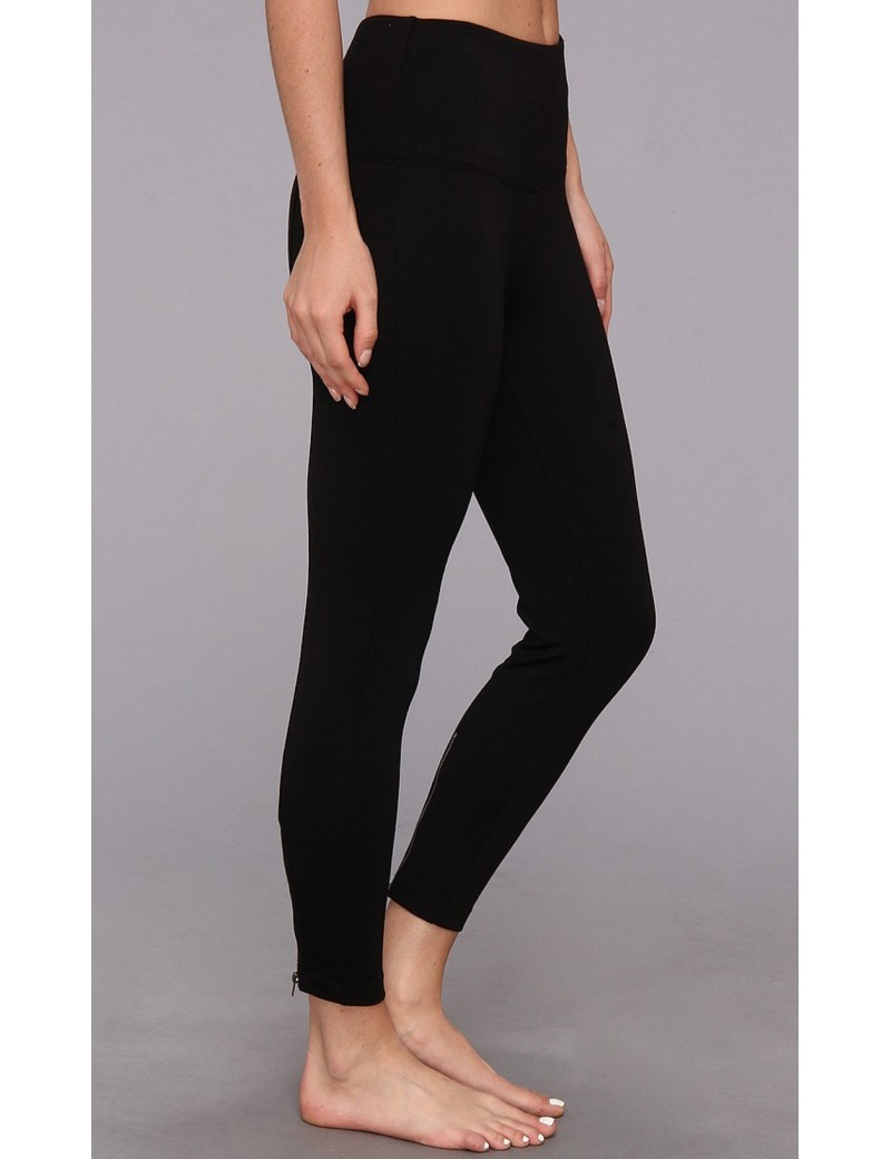 Lysse - Black Lightweight Ponte Knit Ankle Zip Leggings