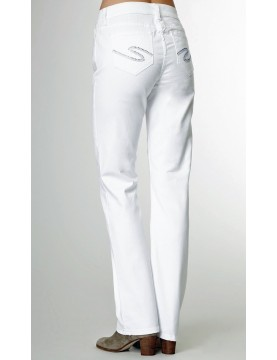 NYDJ - Marilyn Straight Leg Jeans in White with Rhinestones *55227T3006