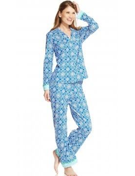 Womens - 2 piece Jersey Pyjama Set - Blue Jewel