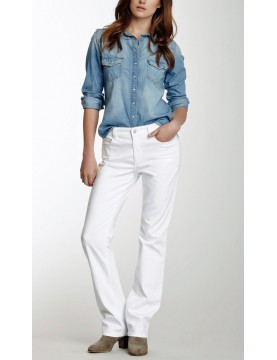 NYDJ - Marilyn Straight Leg Jeans in White with Embellished Pockets *55227T3005