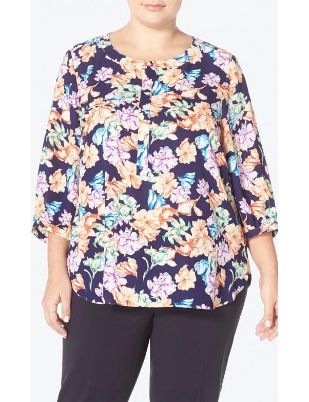 NYDJ - Floral Georgette Shirt in Harlequin (Plus) *S01081F059