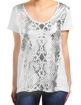 DKNY Jeans - Women's White & Silver Cap Sleeve T Shirt.