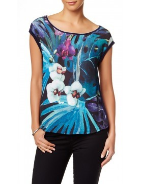 Edista - Aretha Floral Pleat Back Tee Shirt