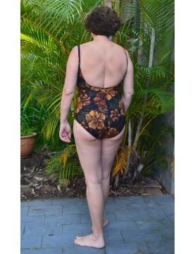 Miraclesuit - Brown Floral Faux Wrap Swimsuit