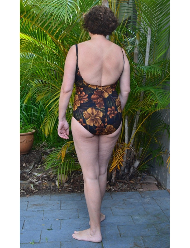Miraclesuit - Brown Floral Faux Wrap Swimsuit