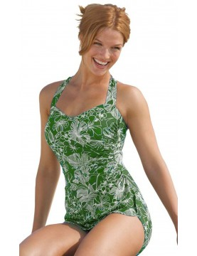 Penbrooke - Sarong Style One Piece Swimsuit in Olive and White