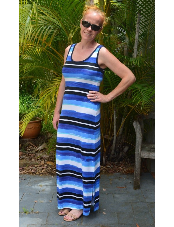 Hatley - Maxi Dress in Watercolor Stripes